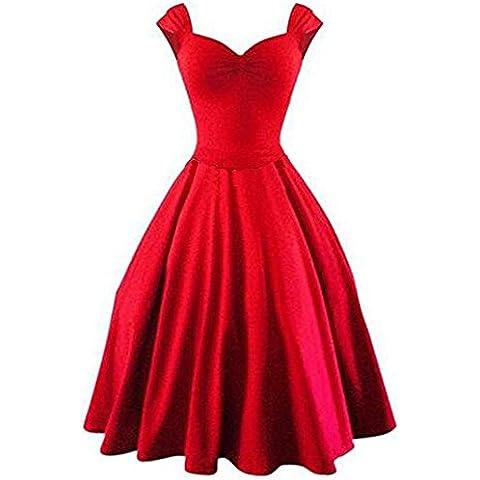 LECIMO Elegante Vintage 50s Vestido sin manga con cuello en V oscilación grande vestidos Retro para Bodas Fiestas