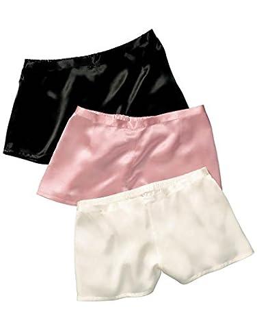 Jasmine Silk Damen Schlafanzughose Monochorme Elegance Short Silky Nights Elfenbein (Small)