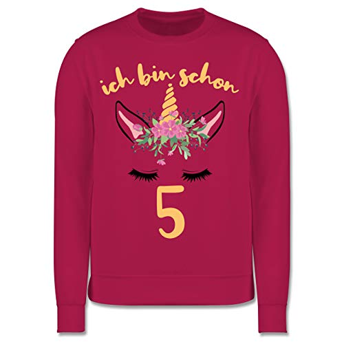 Shirtracer Geburtstag Kind - Einhorn - Ich Bin Schon 5-12-13 Jahre (152) - Fuchsia - JH030K - Kinder Pullover