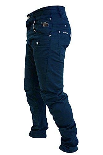 Crosshatch Kractus Jeans Hommes Tordu Multi Poche Cinche Jeans Coupe Slim Chiné Bleu Marine