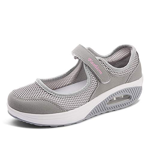 Damen Outdoor Fitnessschuhe Atmungsaktive Mesh Schuhe Sport Slipper mit Klettverschluss in Größe 35-42