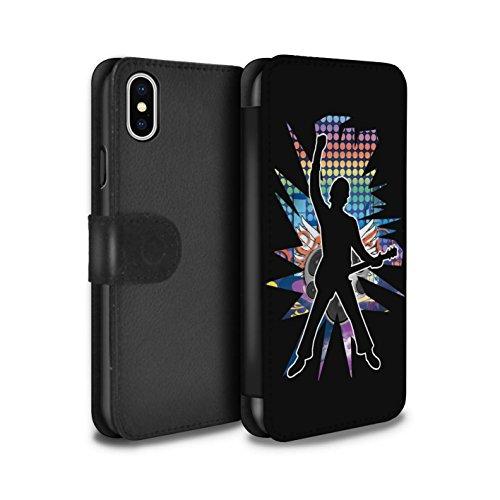 Stuff4 Coque/Etui/Housse Cuir PU Case/Cover pour Apple iPhone X/10 / Rock n Roll Noir Design / Rock Star Pose Collection Windmill Noir