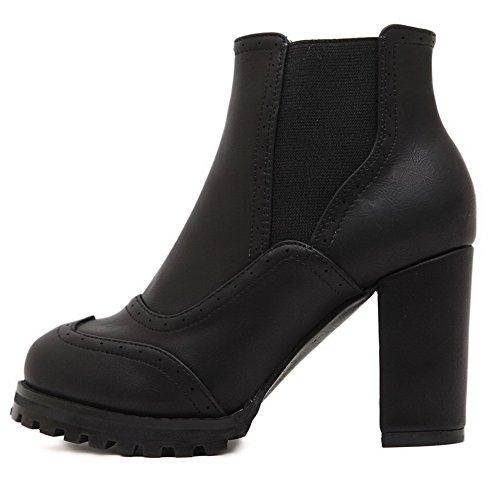 AllhqFashion Damen PU Hoher Absatz Rund Zehe Ziehen auf Stiefel mit Schleife, Rot-Schleife, 34