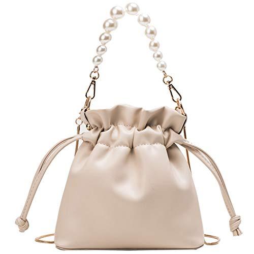 Mitlfuny handbemalte Ledertasche, Schultertasche, Geschenk, Handgefertigte Tasche,Sommer Kette kleine Tasche Frau neue 2019 Pearl Bucket Bag Schulter Messenger Bag