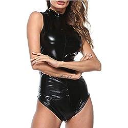 Kinlene Body en Similicuir Sexy pour Femmes Clubwear Robe à Fermeture éClair Combinaison Sexy en Cuir Verni Grande Taille Sexy