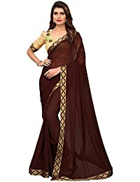 Pratham Blue Women's Georgette Saree with Blouse Piece (Brown Free size)