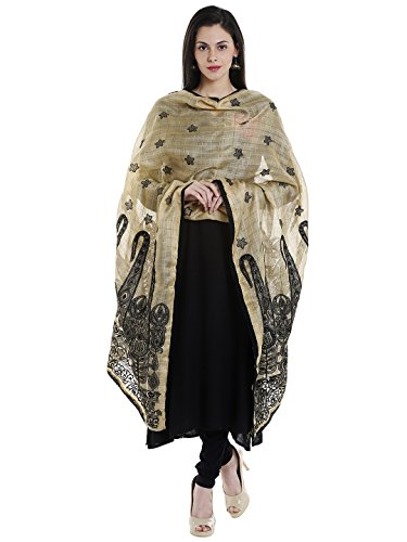 Dupatta Bazaar Woman\'s Supernet Cotton Silk Beige & Black dupatta with all over Embroidery.