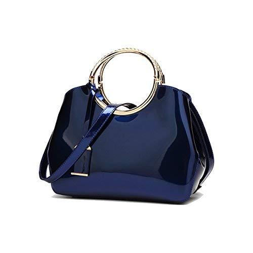 Coolives Damen mit Langer Schultergurt PU Lack Leder Golden Ring Griff Gürteltasche Blau
