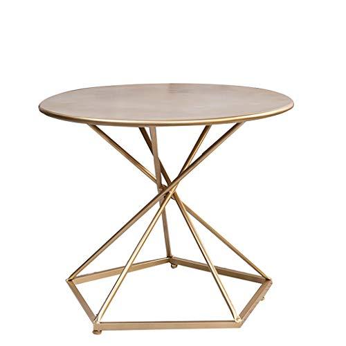 Bedside table JUN Nordic Schmiedeeisen Runder Couchtisch, Wohnzimmer Balkon Kreative Kleine Runde Teetisch Tisch Gold/Schwarz (Color : Gold, Size : 60 * 60 * 50cm)