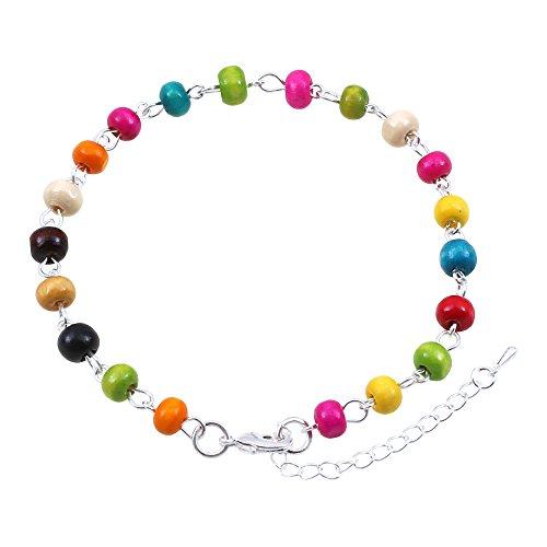 Perline di legno multicolore cavigliera