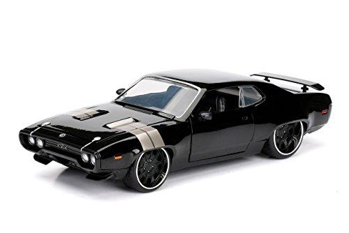 fast and furious modellautos Jada Toys–Spielzeugauto 98292BK–Plymouth GTX–Dom–Fast and Furious 8–Maßstab 1:24–Schwarz