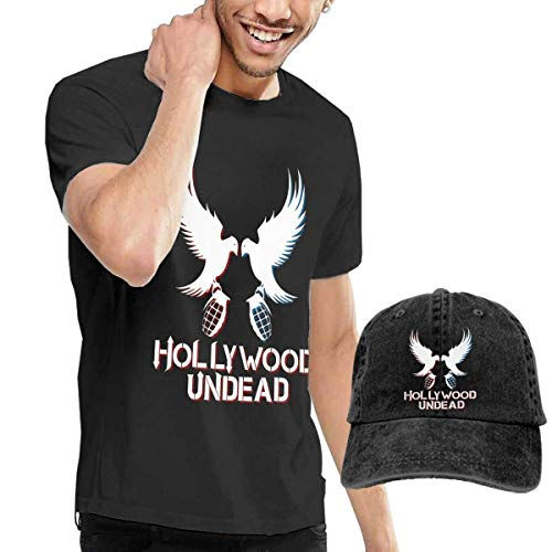 Herren Kurzarmshirt Mens Classic Hollywood Undead Hip Hop Band T-Shirts and Washed Denim Hat Casquette Black ComfortSoft Cotton T-Shirt -