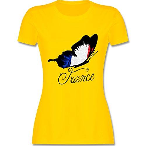 EM 2016 - Frankreich - France Schmetterling - tailliertes Premium T-Shirt mit Rundhalsausschnitt für Damen Gelb