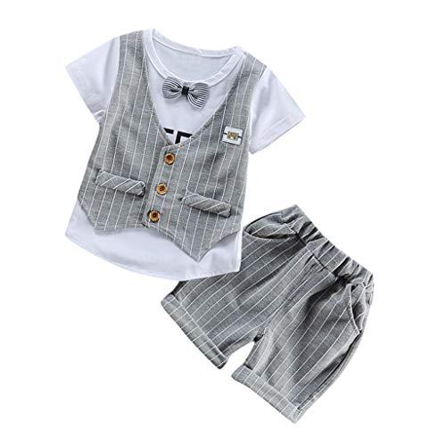 aiyvi Baby Jungen Bekleidungssets, 0-3 Jahre Kleinkind Kinder Baby Jungen Streifen Gitter Weste Bowknot T Shirt Tops Hosen 2 STÜCKE Outfits Set Nette Casual Bequem Sommer -