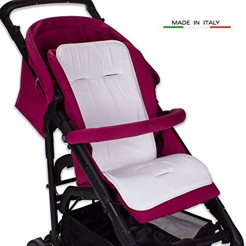 Babysanity Materassino universale per passeggino in spugna di cotone bordato in vari colori (Bianco 100% COTONE)