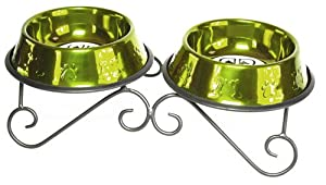 Platinum Pets 24oz Double Diner Stand with Stainless Steel Dog Bowls in Lime