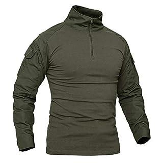 KEFITEVD Airsoft Shirt Langärmlig Herren Wargame Sportswear Tarnung Shirt Ärmeltasche Trainingsshirt Fitness Armeegrün M (Etikett XL)