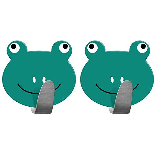 Tatkraft Frogs | Stabile Handtuchhaken Badezimmer, Kinderzimmer | 2 Stück Selbstklebend| Aus robustem Edelstahl| Humorvolles Design für jedes Alter