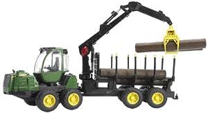 bruder 2133 John Deere 1210E - Tractor de Juguete con Remolque y Troncos