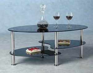 Cara Contemporary Glass Coffee Table - Black / Chrome