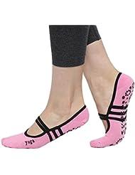CBValley Calcetines de yoga Pilates Calcetines Fitness / Danza / Ballet Calcetín para Mujer Tamaño UK 2,5-7 / EU 35-40 (Rosa)