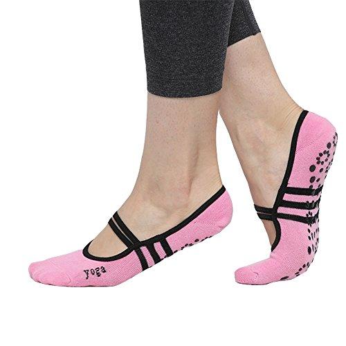 CBValley Rutschfeste Socken Yoga Pilates Socken Fitness / Tanz / Ballett Socken für Frauen Größe UK 2,5-7 / EU 35-40 (Rosa)