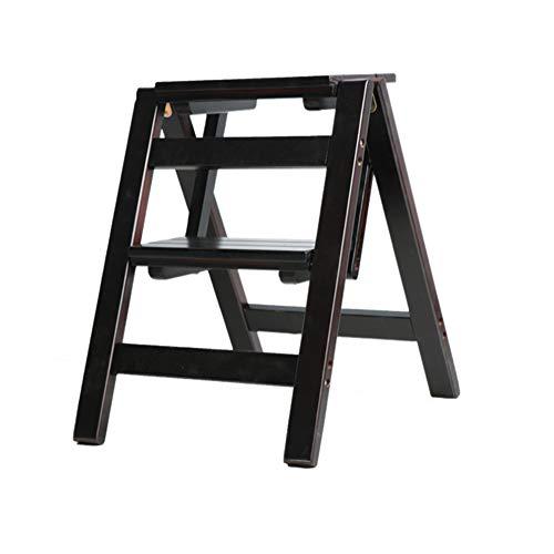 Klappstufen Tritthocker Trittleiter Klapptritt StufenHocker Faltstuhl Aus Massivem Holz Mit Multifunktionsleiter Für Erwachsene ZHANGQIANG (Farbe : Two Steps, größe : SCHWARZ)