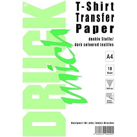 A4camiseta de papel de transferencia para tejidos oscuros, 10hojas (6142)
