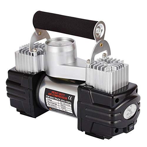Preisvergleich Produktbild WERSDF Doppelzylinder-Luftkompressorpumpe,  12V,  Reifenfüller,  mit Manometer und Licht,  für Auto / Limousine / Motor / Fahrrad / LKW