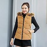 IMJONO Frauen Winter Warm Thick Outerwear Hooded Coat Slim Baumwoll-gepolsterte Jacke (X-Large,Khaki)