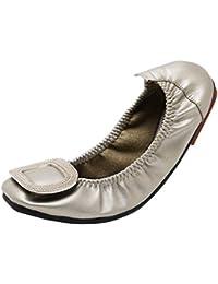 Huatime Zapatos Mujer Bailarinas - Plano Punta Cuadrada Hebilla Cuero Bombas Rhinestone Suave Simple Mocasines Confort