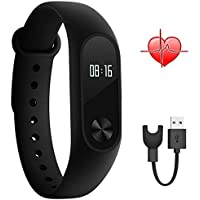Xiaomi Band 2 Mi Band 2 Sport Wristband Bracelet Bracelet intelligent Fitness Tracker Heart Rate Monitor (Black, Black)