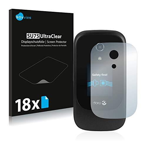 18x Savvies SU75 UltraClear Bildschirmschutz Schutzfolie für Doro 7060 (Äußeres Bildschirm) (ultraklar, mühelosanzubringen)