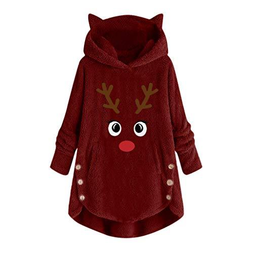 chtsdruck Pullover Damen Button Mäntel Weihnachtsstickerei Pullover Lose Strickjacke Plus Size Bluse ()