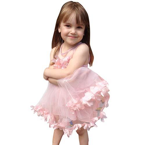 Cloom Mädchen Kleid Tutu Abendkleid Kinder Kleid Petal Netz Kleid Rosa Luxus ärmellos Partykleider Prinzessin Kleid Mädchen Karneval Kostüm Festival Kleid Tüll-Kleid Hochzeit Kleid 6-24M (80, Rosa)