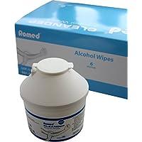 Preisvergleich für 150 Alkoholtupfer in der praktischen Spenderdose Tupfer Alkoholpads Pads Romed(1 Stück)