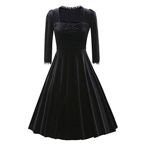 YouPue Femme Vintage Velours Robe de Cocktail 50's 60's Lace Manches Longues Swing Robe de Soirée Élégant Noir