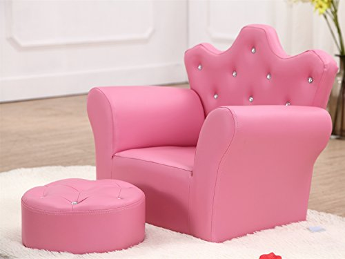 Children's Armchair with Footstool Girls Seating Chair Kids Sofa PU Leather - Pink