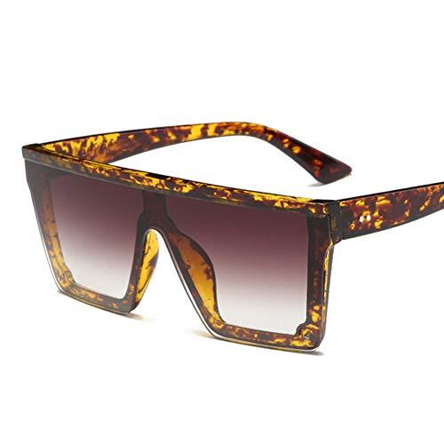 Li Kun Peng Männlich Flat Top Sonnenbrille Männer Marke Schwarzes Quadrat Shades UV400 Gradient Sonnenbrille Für Männer Cool One Piece Designer,C4Leopard