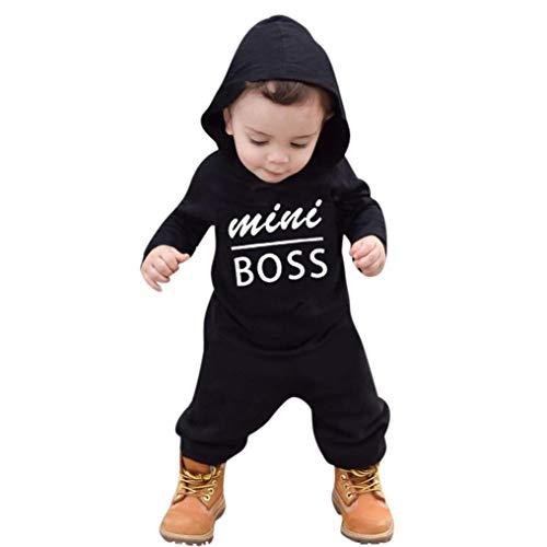 Moginp Jumpsuit,Kleinkind Kinder Baby Brief Spielanzug Mit Kapuze Jungen Mädchen Hoodie Siamesischer Pullover Outfits Kleidung Strampler Overall (80, Schwarz)
