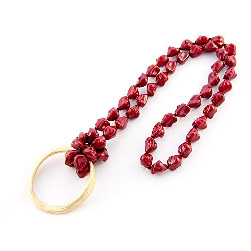 Lange Halskette mit Semibarroca-Harzsteinen.Goldreifen Anhänger. Rote farbe.Valentinstag Geschenk für ()