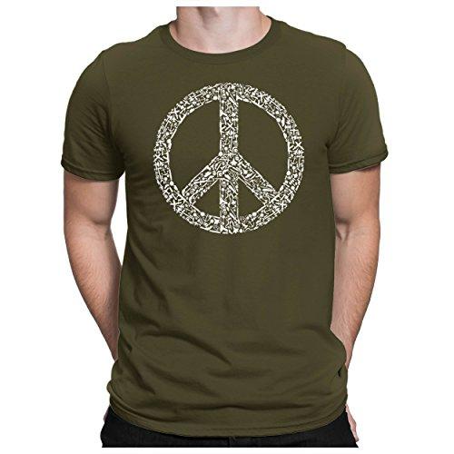 PAPAYANA - War-Peace-Love - T-Shirt Fun pour Hommes - T-Shirt Imprimé - Cotton - Regular Fit - - L - Oliv