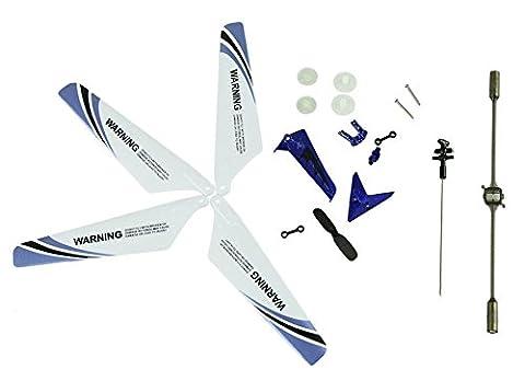 niceeshop(TM) Roue Dentée Set Ailes Tail Accessoires Balance Bar Pièces de Rechange Ensemble Complet pour Hélicoptère Syma S107 RC (Set de 19, Bleu)