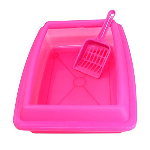 Zhuhaitf Cat Supplies Cat Plastic Litter Tray Mülleimer with Scoop with rim - 12.6*9*4.33inch (Rim-trainer)