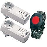 Pflegeruf-Set / Hausnotruf / Senioren-Hausalarm / Senioren-Sicherheitspaket 3 - (mit Funk-Armbandsender und zwei Steckdosen-Empfängern)