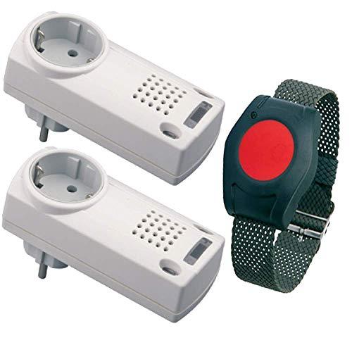 Pflegeruf-Set / Hausnotruf / Senioren-Hausalarm / Senioren-Sicherheitspaket 3 - (mit Funk-Armbandsender und zwei Steckdosen-Empfängern) -