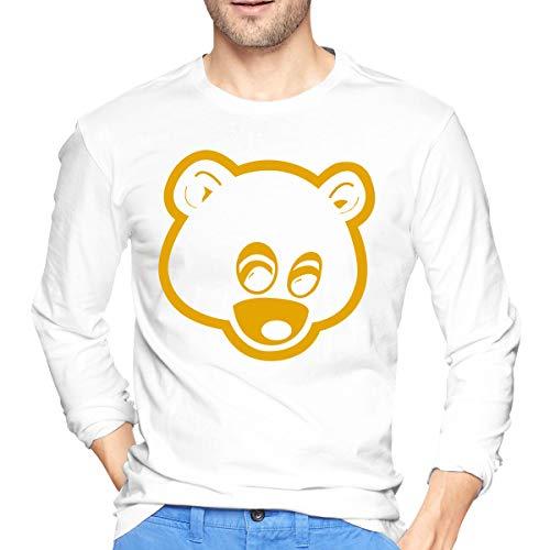 Herren Kanye West Logo Print T-Shirt für Herren Tee T Shirt Langarm Tshirt mit Rundhalsausschnitt Kleidung Weia 2XL -