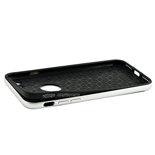 iPhone 7 Hülle, Fraelc® 2in1 Hybrid Schutzhülle mit Plastik Bumper Rahmen und Silikon TPU Case Gel Gummi Rückseite Handyhülle für iPhone 7 4.7 Zoll - Schwarz Silber