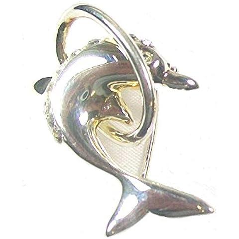 A forma di delfino, in argento con