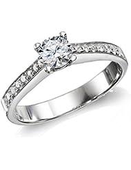 Diamant Ring 0.50 Ct W G/I1 Round 18 Karat (750) Weißgold (Ringgröße 48-63)